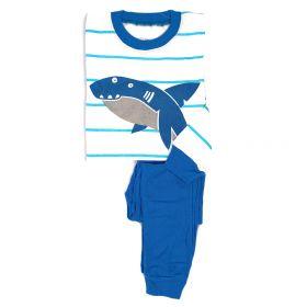 PIYAMA ANAK LENGAN PANJANG 4T - 10T - BLUE STRIPES SHARK